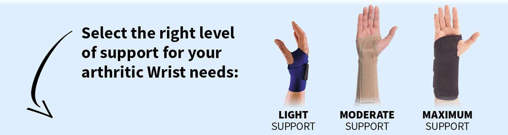 Select the right level of support for your arthritic wrist needs