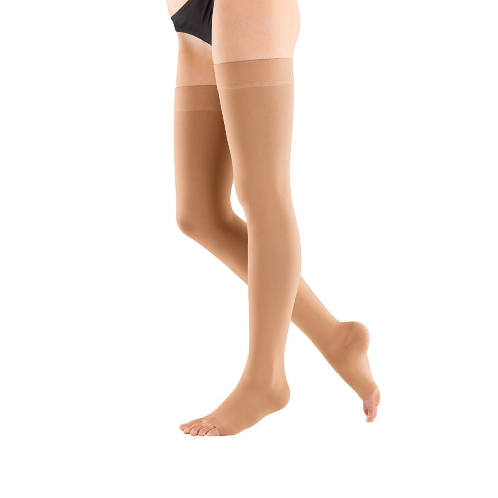 4103a23685 Bauerfeind VenoTrain micro AG Open Toe Compression Stockings, Thigh-High