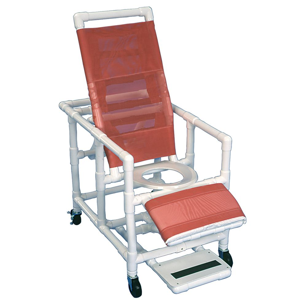 Reclining PVC Shower Commode Chair by Healthline