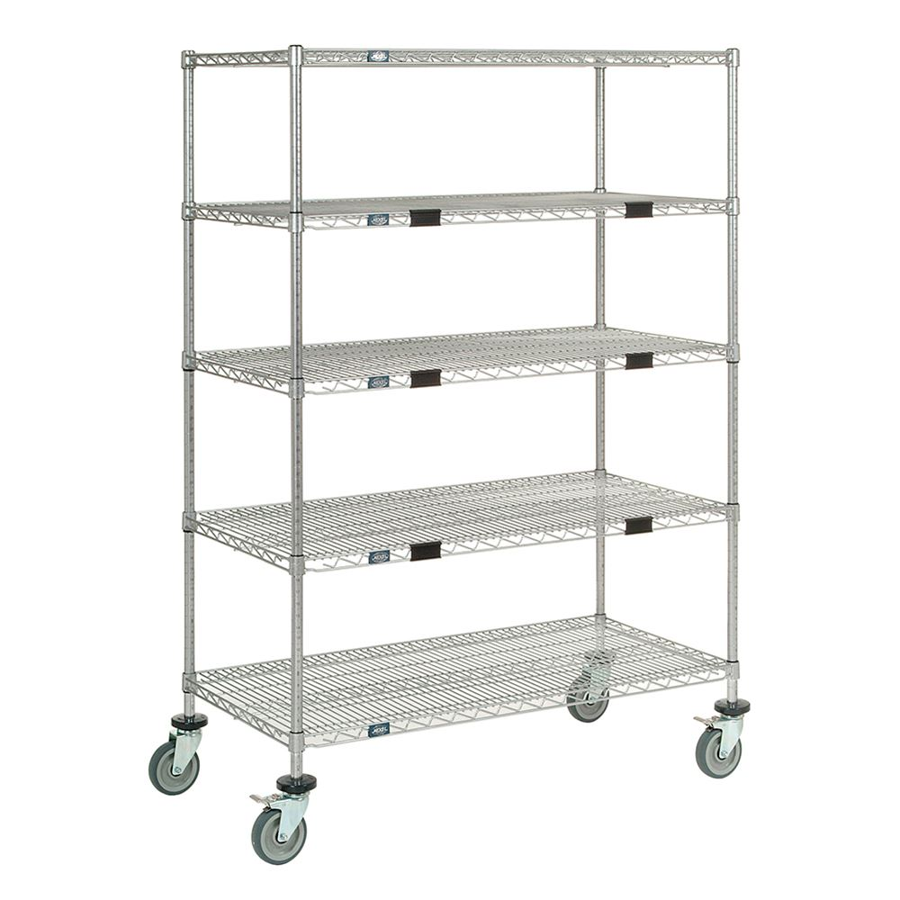 Nexel Wire Shelf Exchange Cart with 5 Open Shelves