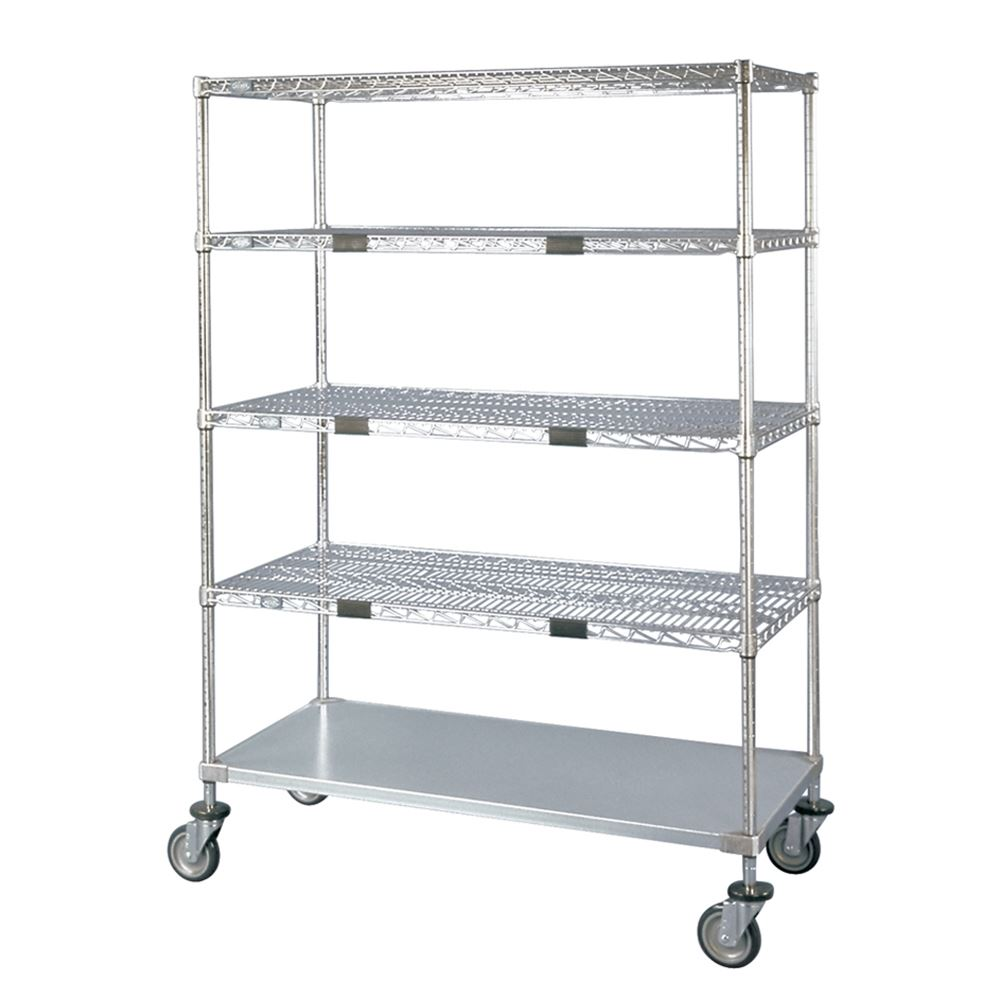 Nexel Wire Shelf Exchange Cart with 4 Wire Shelves & One Solid Shelf
