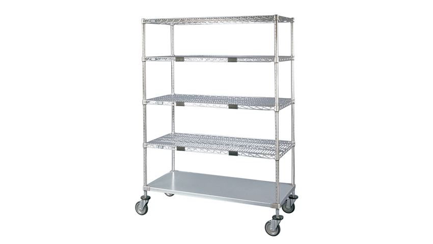 Nexel® Wire Shelf Exchange Cart with 4 Wire Shelves & One Solid Shelf