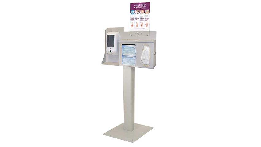 Bowman® Cover Your Cough Compliance Kit, Stand, Sanitizer Dispenser Mount, Vertical Sign