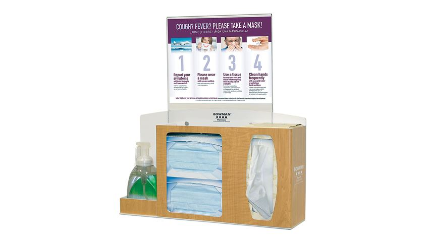 Bowman® Cover Your Cough Compliance Kit, Counter/Wall, Sanitizer Holder, Horiz. Sign