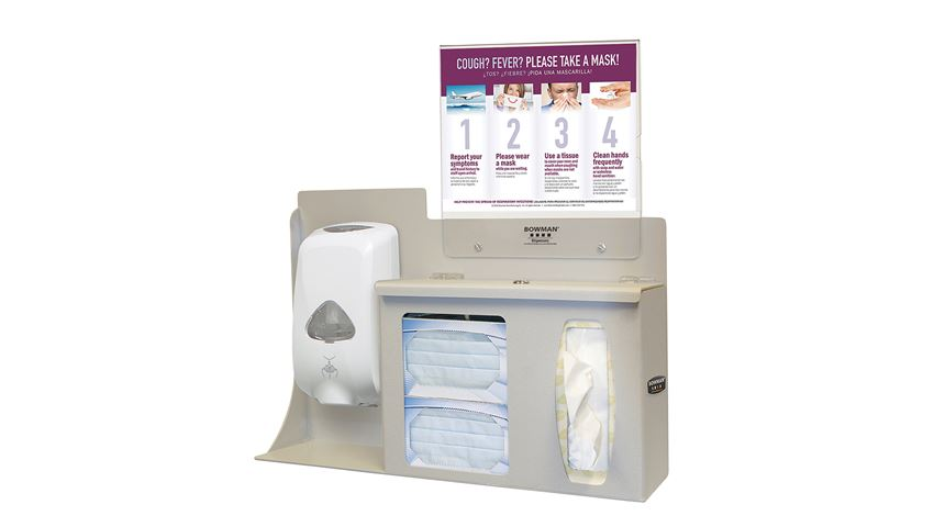 Bowman® Cover Your Cough Compliance Kit, Counter/Wall, Sanitizer Disp. Mount, Horiz. Sign