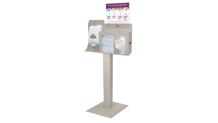 Bowman® Cover Your Cough Compliance Kit, Stand, Hand Sanitizer Dispenser, Horizontal Sign