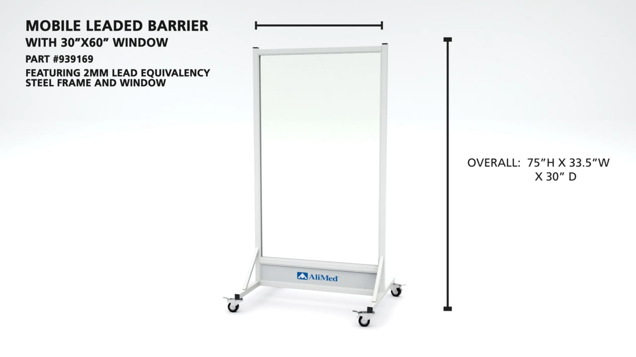 "AliMed Mobile Leaded Barrier Video (30"" x 60"" Window)"